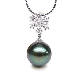 Ciondolo fiocco di neve oro bianco - Perla di Tahiti nera, blu - 11/12mm