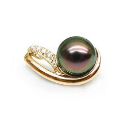 Ciondolo oro giallo - Perla di Tahiti nera, pavone - 8.5/9mm