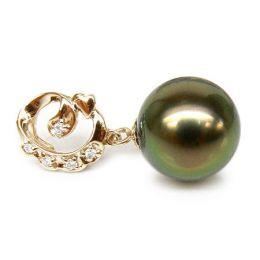 Ciondolo oro giallo - Perla di Tahiti nera, verde, oro - 10/11mm