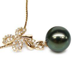 Ciondolo foglie oro giallo - Perla di Tahiti nera, bronzo - 11/12mm