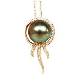 Ciondolo oro giallo - Perla di Tahiti nera, verde - 10/11mm