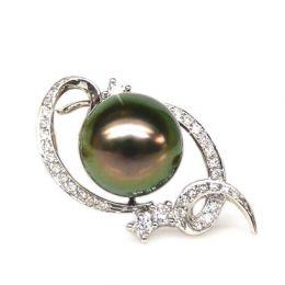 Ciondolo oro bianco - Perla di Tahiti nera, pavone - 10/11mm
