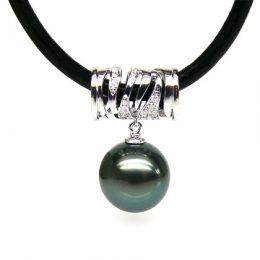 Ciondolo cilindro oro bianco - Perla di Tahiti nera, verde - 10/11mm
