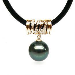 Collana in cuoio nero - Ciondolo cilindro oro giallo - Perla di Tahiti nera