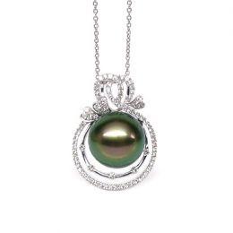Ciondolo cuori oro bianco - Perla di Tahiti nera, pavone - 12/13mm
