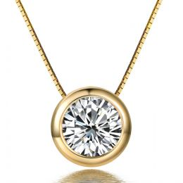 Ciondolo Solitario - Oro giallo - Diamanti 0.0250ct