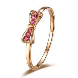 Anello fiocco - Oro rosa e rubini