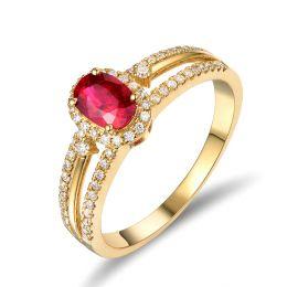 Anello di Fidanzamento in oro giallo 18ct - Rubino e diamanti