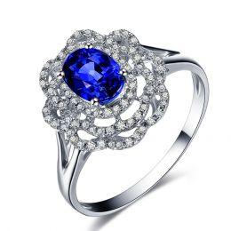Anello di Fidanzamento Fiore in oro bianco, zaffiri e diamanti