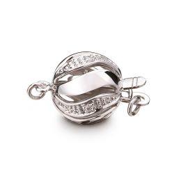 Chiusura Melograno. Palla 11mm - Diamanti - Oro bianco 18 carati.