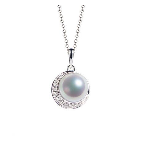 Ciondolo perle Akoya del Giappone e Corona in Oro Bianco 18ct