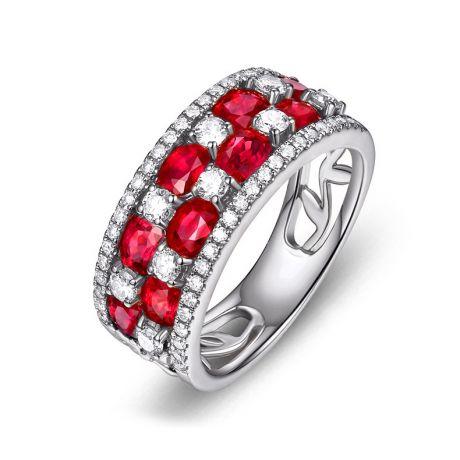 Anello Dama fiorita . Oro bianco, Rubini e Diamanti