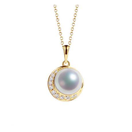 Ciondolo perle Akoya del Giappone e Corona in Oro Giallo 18ct