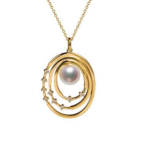 Ciondolo Kaneo. Oro Giallo, Perle Akoya del Giappone, Diamanti