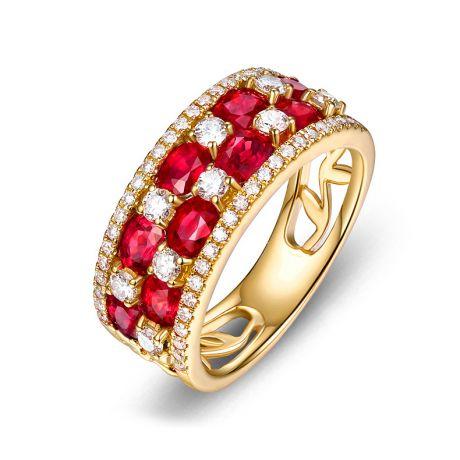 Anello Dama fiorita . Oro giallo, Rubini e Diamanti
