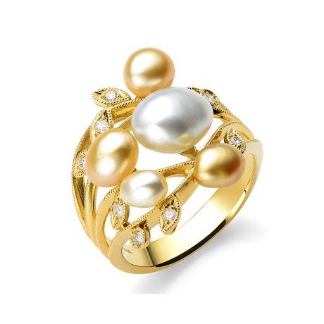 Anello Fiore Segreto 1 in Perle australiane bianche e dorate