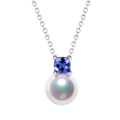 Ciondolo perla Akoya 8/8.5mm. Oro bianco, incastonati 2 diamanti