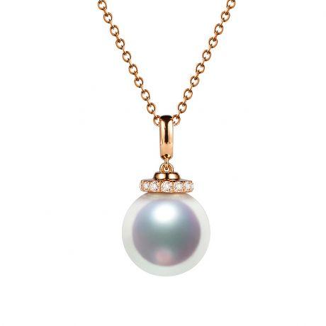 Ciondolo Ojo. Oro rosa, Perla Akoya e Corona di Diamanti