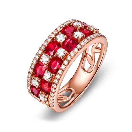Anello Dama fiorita . Oro rosa, Rubini e Diamanti