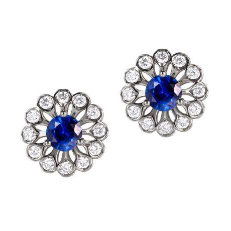 Orecchini Blu Medici - Zaffiro, Oro bianco e Diamante