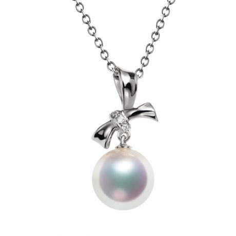 Ciondolo Itsuka perla Akoya del Giappone - Perla AAA, oro bianco e diamanti