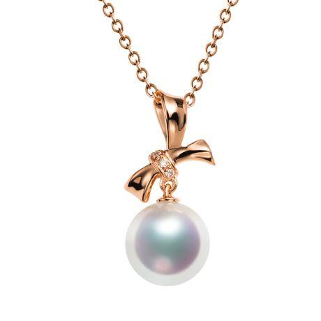 Ciondolo Itsuka perla Akoya del Giappone - Perla AAA, oro rosa e diamanti