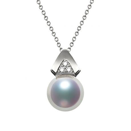 Ciondolo triangolare in perle Akoya del Giappone - Oro bianco e diamanti