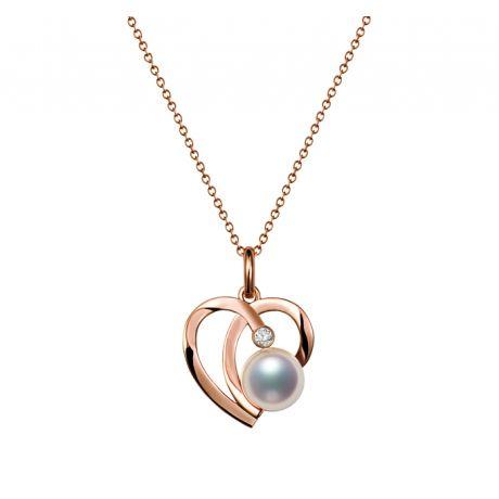 Ciondolo Chiaky. Cuore in Oro Rosa, Perla Akoya e Diamante