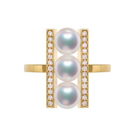 Anello Otohiko Oro Giallo. 3 Perle Akoya, Diamanti