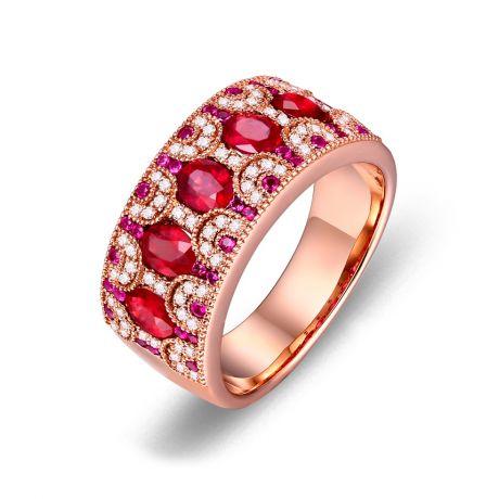 Anello Orientale a Paris. Oro rosa, Rubini e Diamanti