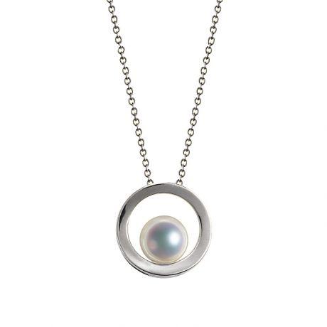 Ciondolo perla Akoya - Himiko - Perla del Giappone, Oro bianco