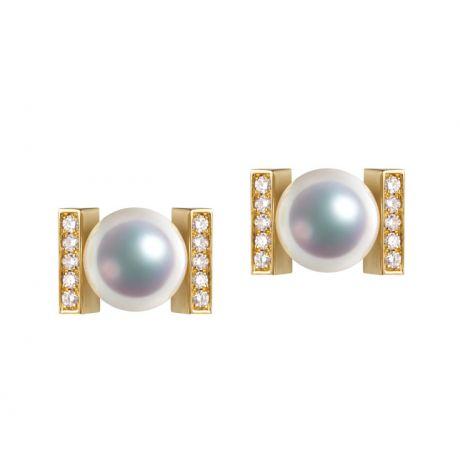 Orecchini Moderni Su Binari Diamantati. Otohiko, Oro Giallo
