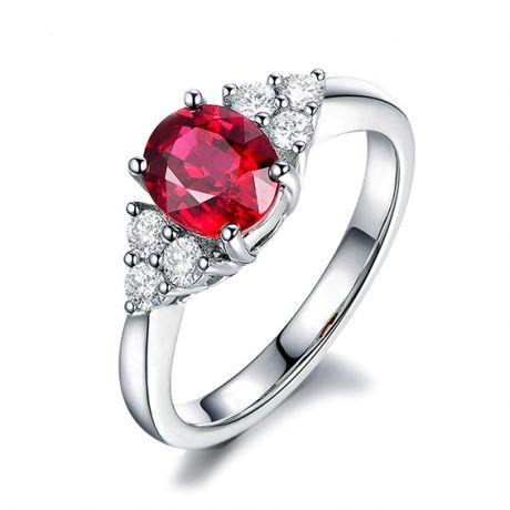 Anello Dolce Francia. Oro bianco, Diamanti e Rubino