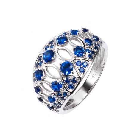 Anello con zaffiri diamanti & oro bianco cesellato