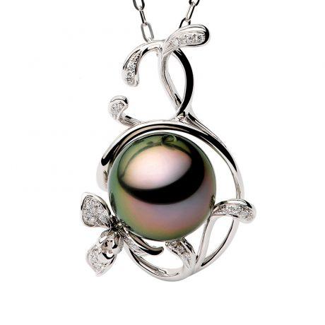Ciondolo Lisa  perla di Tahiti, Oro bianco e diamanti