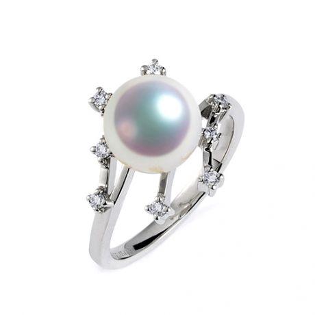 Anello Stella delle Nevi. Perla Akoya Giappone. Oro bianco e diamanti