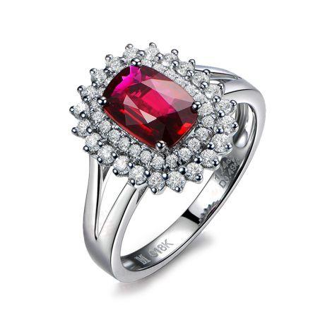 Anello Scintillante. Oro bianco, Diamanti e Rubino