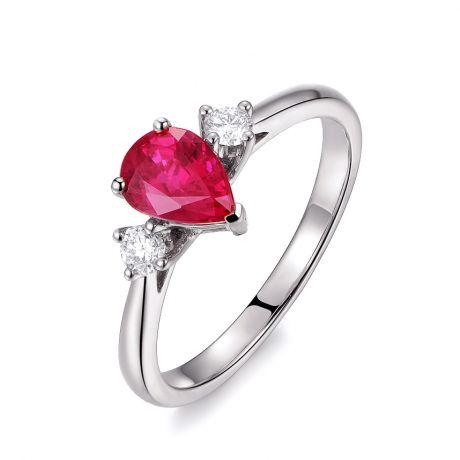 Anello Amore. Oro bianco, Rubino taglio pera, Diamanti