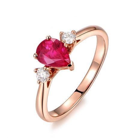 Anello Amore. Oro rosa, Rubino taglio pera, Diamanti