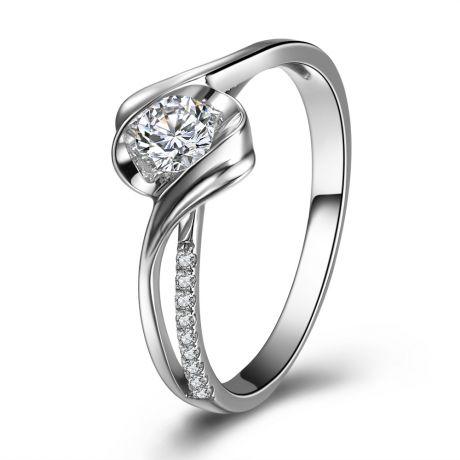 Anello solitario fascia - Oro bianco e diamanti