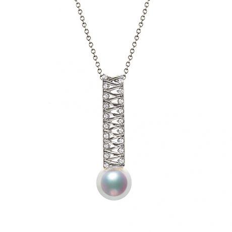 Ciondolo perla dal Giappone. Oro bianco, diamante - Hatsune Miku