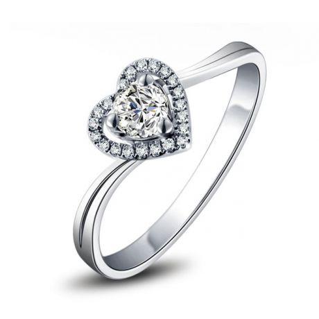 Anello solitario cuore diamantato - Oro bianco 18k