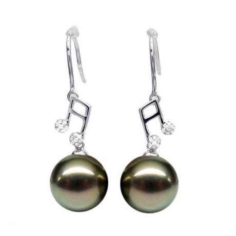 Orecchini nota musicale - Gancio oro bianco - Perle di Tahiti nere, bronzo - 9/10mm