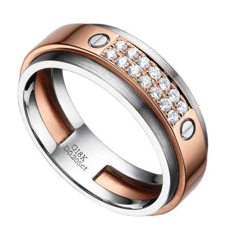Anello Uomo -  Oro bianco, rosa 7.50gr - Diamanti 0.205ct