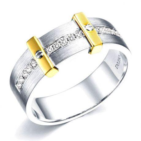 Anello Uomo - Oro bianco, giallo 7.35gr - Diamante 0.15ct