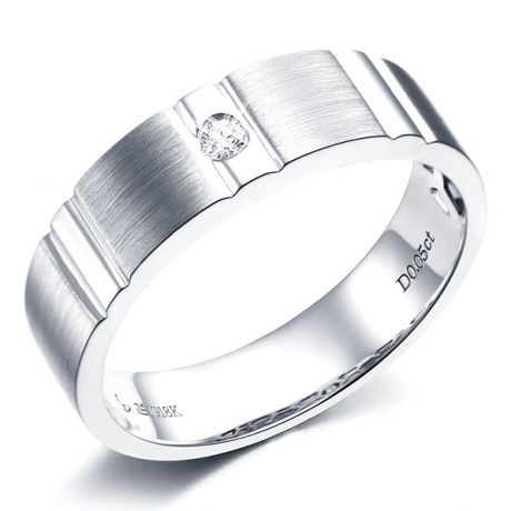 Anello Uomo - Oro bianco - Diamante 0.050ct