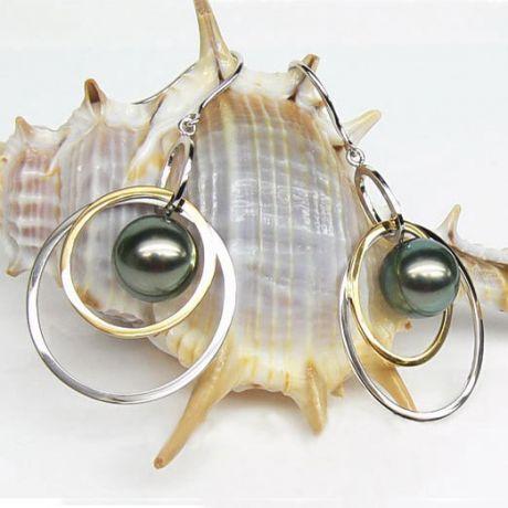 Orecchini - Gancio oro bianco, giallo -  Perle di Tahiti nere, verdi - 9/9.5mm