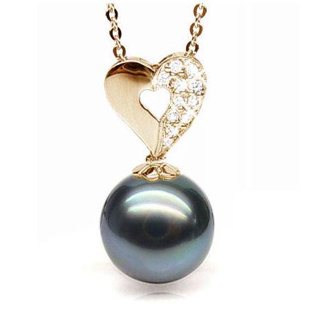 Ciondolo cuore oro giallo - Perla di Tahiti nera, blu - 10/11mm