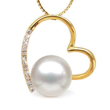 Ciondolo cuore oro giallo, diamanti - Perla d'Australia bianca - 9/10mm