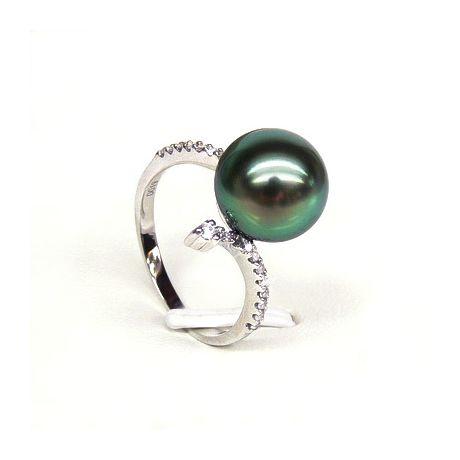 Anello oro bianco - Perla di Tahiti nera, pavone - 10/10.5mm